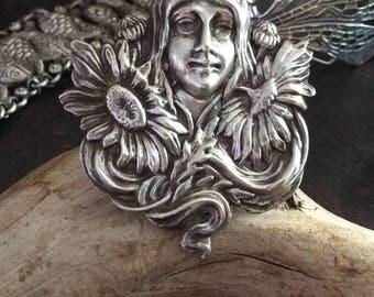 Amazing sterling vintage art nouveau goddess ring  size 7