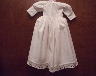 Vintage Doll Dress, Off-White Doll Dress, Country Doll Dress, 18 inch Doll Dress, Long Doll Dress, Doll Clothing, Handmade Doll Dress,