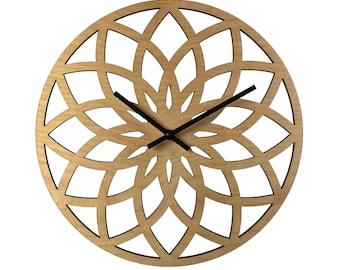 "12"" LOTUS Ring WALL CLOCK Contemporary Laser Cut Wood"