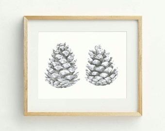 Pinecone Art Print - Hand Drawn, Nature Art, Rustic Wall Art, Original Artwork, Botanical Art, Wilderness Illustration, Pinecone Artwork