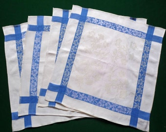 Four damask cotton Vintage napkins with blue stripes napkin set of 4 table decor dinner napkins