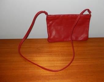 Vintage Red Genuine Leather Purse from the 1980s - Made by Artisan Bags in Childwold, New York