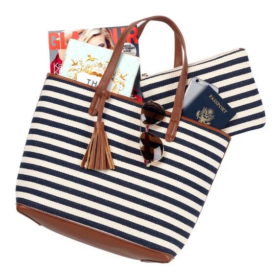 Chandler Navy stripe tote tote bag monogram bag luggage bag monogram purse gift idea birthday stripe bag