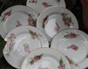 Set di 6 piattini da dolce, dessert. Ceramica bianca con decori floreali rosa e bordura dorata. Marchiati sul fondo Limoges. Molto antichi.
