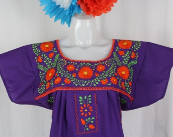Mexican Embroidered Tunic- Colorful Flowers- Embroidered by Hand -Purple (Medium) BOHO- Trendy