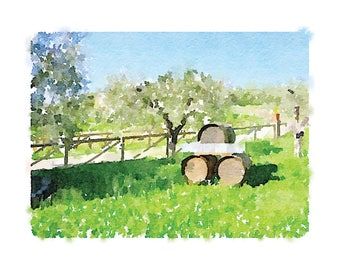 Tuscany Winery Printable Artwork: Winery watercolor, Tuscany watercolor, Italy landscape, Italian countryside, Tuscan, Winery, Chianti