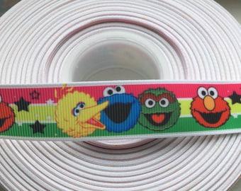 "Sesame Street Printed Grosgrain Ribbon, 7/8"", 5 yards, scrapbooking, craft supplies"