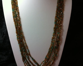ex long beaded necklace red brown green glass cased beads flapper style beads plus size jewellery multy string