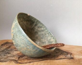 Handmade Ceramic Salt Pig, Salt Cellar in sand and sea colour with wooden spoon