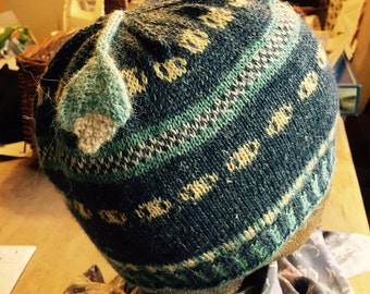 Fairisle Handknitted Hat With a Leaf Dangle