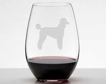 Poodle, Standard Poodle Silhouette Etched Stemless Wineglass