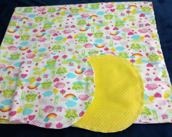 Frogs and Rainbows, with Yellow Backing Hemstitched Baby Blanket and Burps ready for you to crochet by Linda's Hemstitching