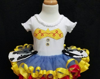 Jessie cowgirl inspired custom tutu outfit/Toy Story/ribbon trimmed tutu/Jessie dress
