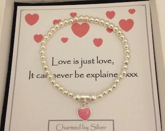 Sterling Silver Bead & pink enamel heart Charm Stretch Bead Bracelet