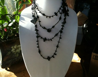Black Glass & Jet Necklace, made with antique beads. Very Long!