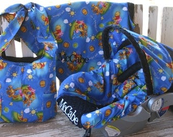 Embroidery not available Pooh and friends w/ black minky infant car seat cover and hood cover w/diaper bag, blanket, headsupport,and straps