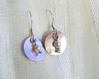Pink Shell and Pearl Earrings