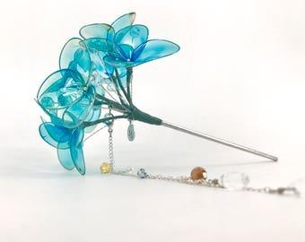 Resin Wire Blue Hydrangea Kanzashi with Detachable Tassle