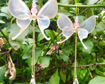 Wire Resin Pearl Color White Butterfly Crystal Earring