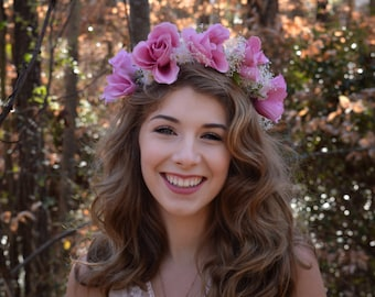 Pink Rose Flower Crown Floral Headband Wedding Hair Acessory Photoshoot Woodland Boho Music Festival
