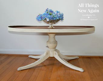 White Oval Coffee Table with Stained Top