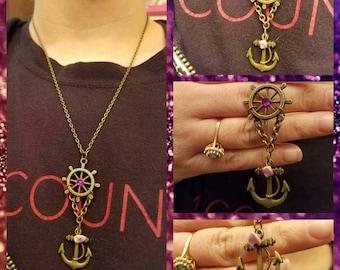 Nautical ship wheel/anchor necklace