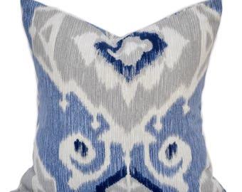 1 Ikat pillow cover, cushion, decorative throw pillow, Blue pillow, accent pillow, Grey pillow, pillow case