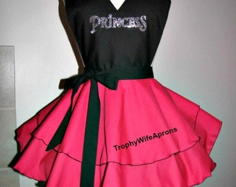 Princess apron #4111 Raspberry and black double skirt retro hostess apron