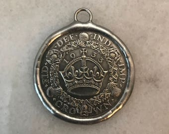 Ancient Coin, Soldered Replica Coin, Crown Coin Pendant