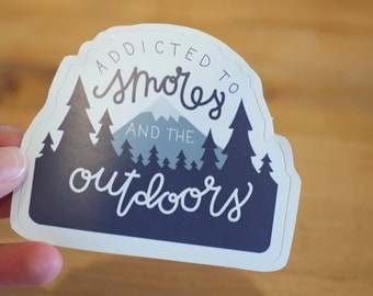 I'm Addicted to Smores and the Outdoors: Laptop Sticker