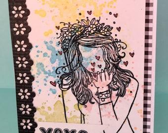 XOXO  Blowing Kisses Card