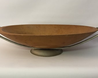 Copper Aluminum Wood Center Piece Bowl in the manner of Russel Wright