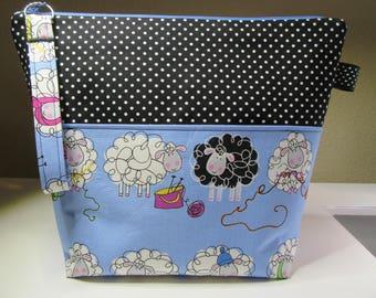 Blue Knitting Sheep Project Bag