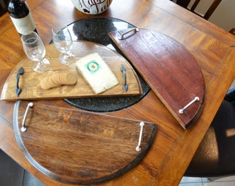 Serving tray - Wine barrel made from reclaimed wine barrel heads