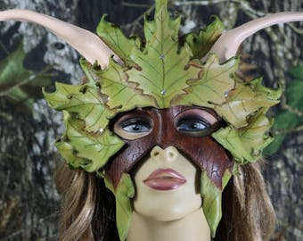 leather double layer horned leaf mask