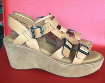 Vintage Kork Ease Wedge 3 Strap Sandal Dead Stock Unused