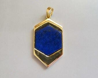 Gold Plated Pendant with lapis lazuli Inlay - B1520