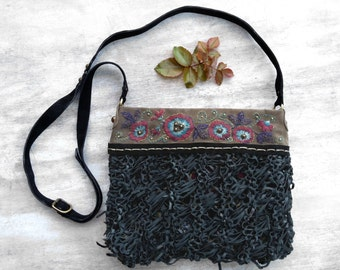 Hand embroidered leather bag, black leather crossbody bag, unique boho bag, italian leather bag, leather messenger bag, floral purse