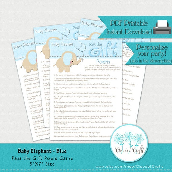 baby elephant blue pass the gift poem baby shower game card by