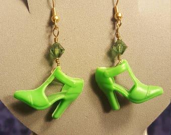 Green Barbie shoe earrings with green Swarovski crystal