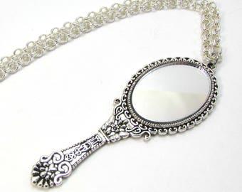 Miniature Hand Mirror Necklace, 70x26mm Single-Sided Antique Silver Hand Mirror Necklace, Item 1357m