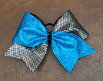 Cheer Bow -  Turquoise and Silver Tick Tock
