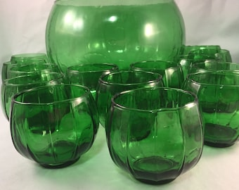 Beautiful 15 Piece Green Hand Blown Punch Bowl Set, Large Bowl with 14 Matching Cups