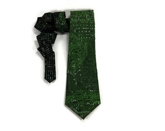Circuit board tie, Binary and Circuits tie, computer tie, mother board tie, green circuits, computer code tie, coding tie, programmer tie