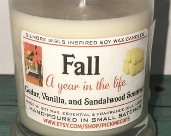 Gilmore Girls Inspired Candles- A Year in the LIfe- -Seasons- Winter-Spring-Summer-Fall - Gilmore Girls Gifts- Mother's Day gift- Soy Candle