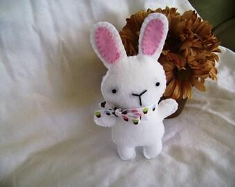 Felt Bunny, Stuffed Bunny Toy, White Felt Bunny, Felt Rabbit, Easter Toy Bunny