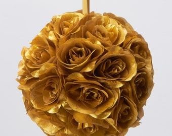 Silk kissing pomander flower ball GOLD