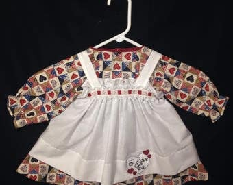 Dress and Apron for 30 INCH Raggedy Ann Doll;Navy Heart patchwork print Dress,Embroidered Apron, ribbon trim on the aprons waistline .