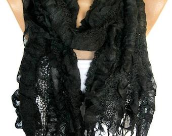 SALE! 9.90 USD -Black Scarf, Trend Scarf- Fashion Scarf- Shawls-Scarves-Gift Scarf-Shawl-Christmas Gift
