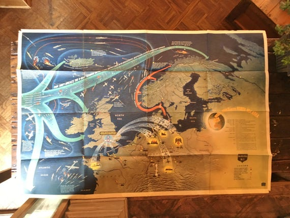 World War 2 in the North Sea Area Map, US Naval Training Aid, 1944, WW2 Map, WW2 Poster